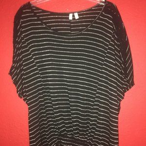 Madison Womens XL Black with Silver Stripes Blouse